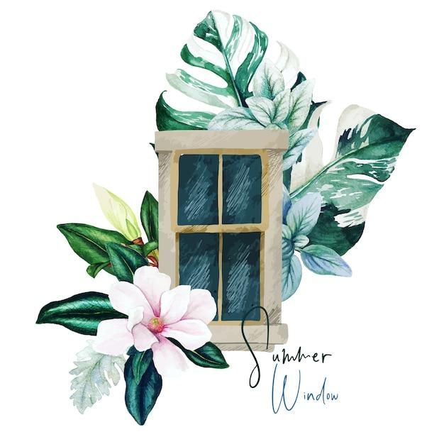 花のコンセプトのウィンドウデザイン Premiumベクター