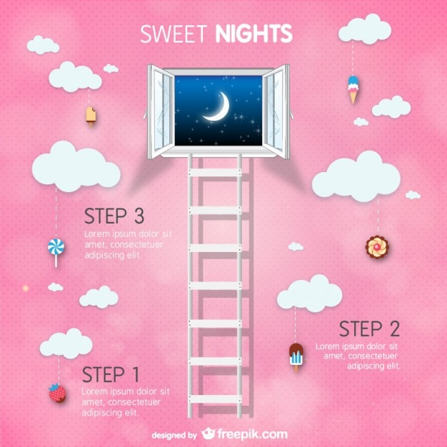 Window of dreams with clouds and the moon Free Vector