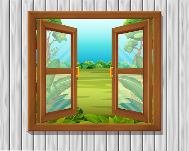 Window to nature scene Premium Vector