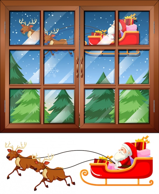 Window scene with santa flying sleigh at night Free Vector