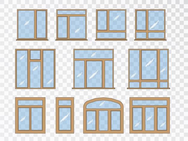 다른 유형의 창 세트. 컬렉션 고전 건축 요소 무료 벡터