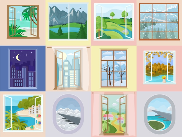 Window vector home interior design with beautiful view on mountain sea beach vacation illustration set of house wooden frame decoration Premium Vector