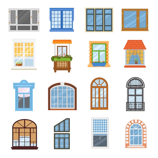 Window vector modern house view glass frame arch illustration set Premium Vector