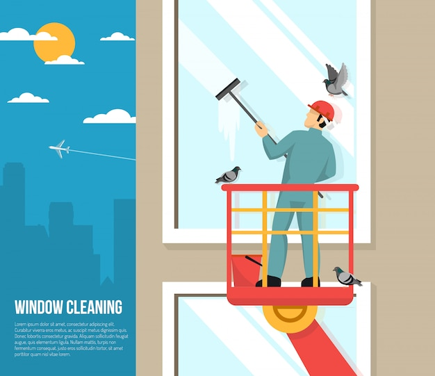 Window washer at work flat illustration Free Vector