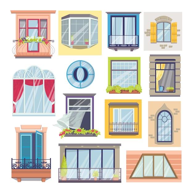 白いイラストの窓とバルコニーのセット。家の正面の建築、窓ガラス、窓辺、花飾り、カーテン、ヴィンテージのバルコニー要素。 Premiumベクター