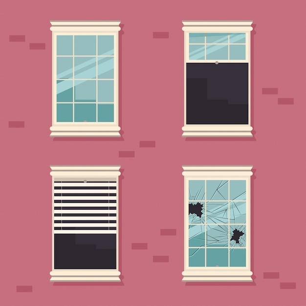 Windows broken, open, closed and with blinds on a brick wall vector cartoon illustration. Premium Vector
