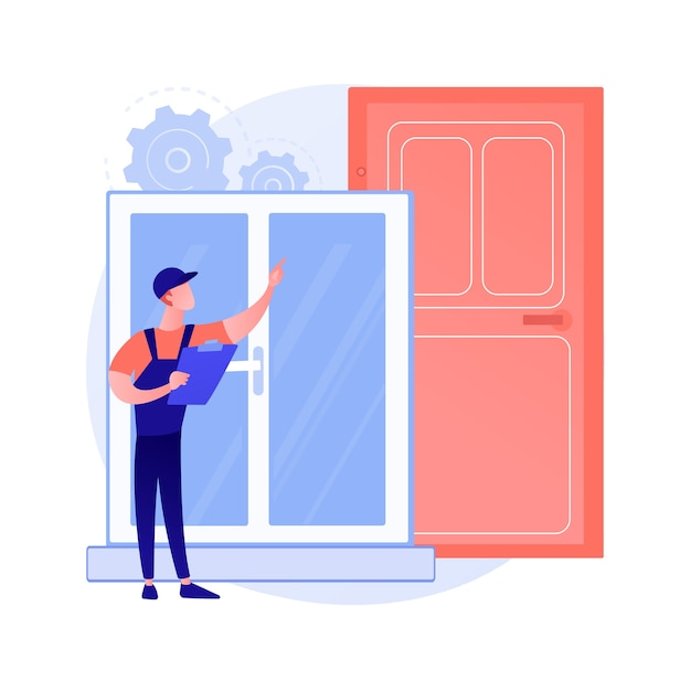 Windows and doors services abstract concept Free Vector