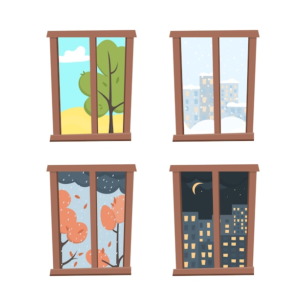 Windows set with landscape view in flat style. Premium Vector