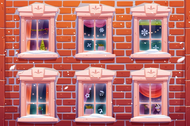 Windows with christmas decoration Free Vector