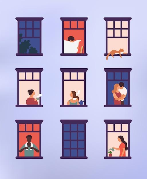 Окна с соседями, которые занимаются повседневными делами в своих квартирах - пьют чай, разговаривают, поливают комнатные растения, обнимаются или обнимаются, читают газету Premium векторы