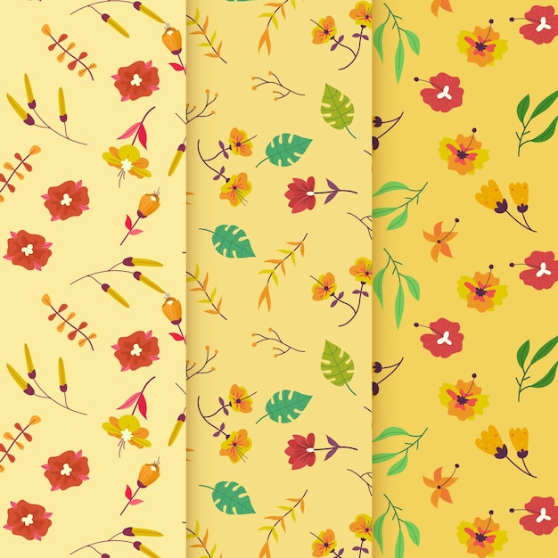 Windy flowers hand drawn spring pattern Free Vector