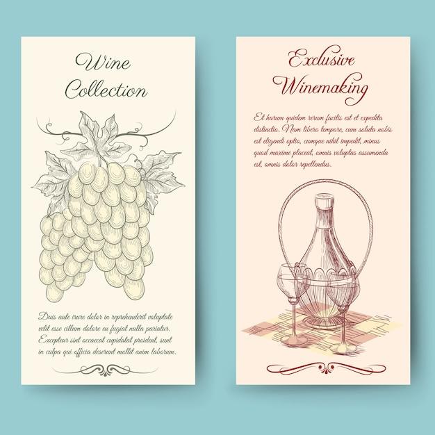 ワインとワイン作りの縦長のバナー。ボトルラベル、フルーツヴィンテージ、ベクトルイラスト 無料ベクター