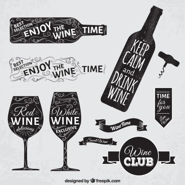 Wine badges in blackboard style Free Vector