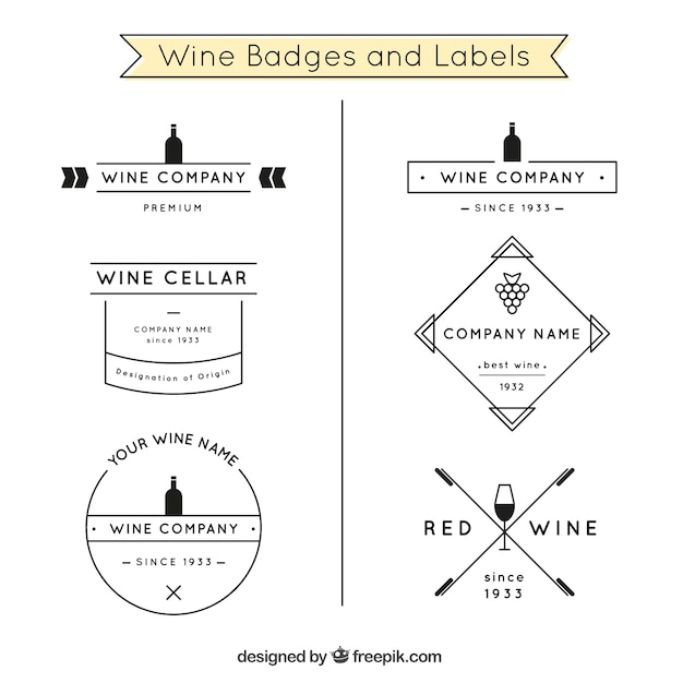 Wine badges and labels in black and white Premium Vector