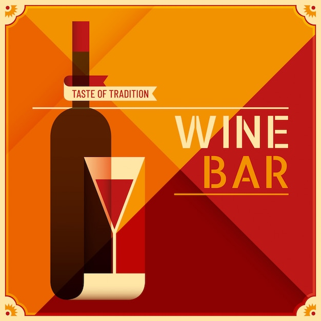 Wine bar background Premium Vector
