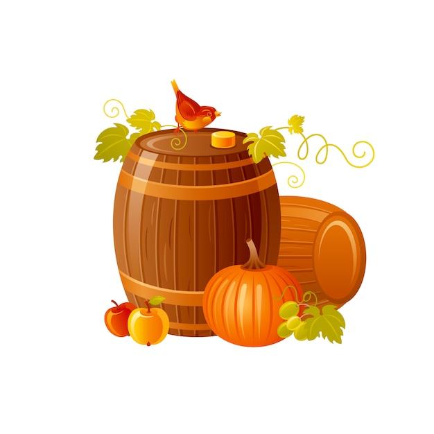 와인 배럴. 와인 축제, 보졸레 누보 프랑스 축제, 추수 감사절에 대 한 만화가 그림. 프리미엄 벡터