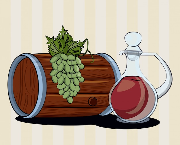 Wine barrel drink with jar and grapes vector illustration design Premium Vector