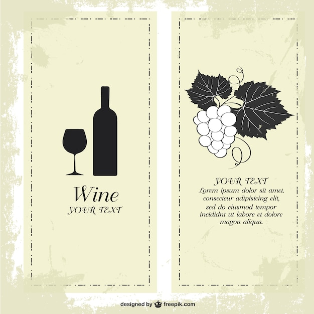 Wine bottle and glass banners Vector – Wine Bottle Labels Template Free