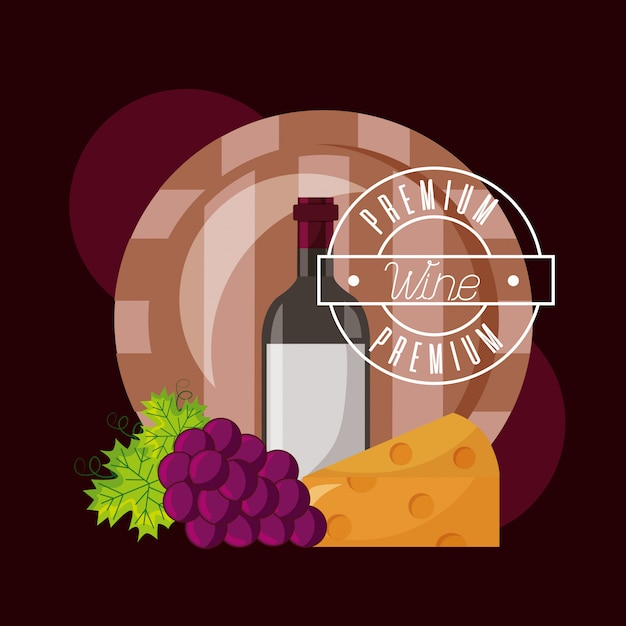 Wine bottle barrel cheese and fresh grapes Free Vector