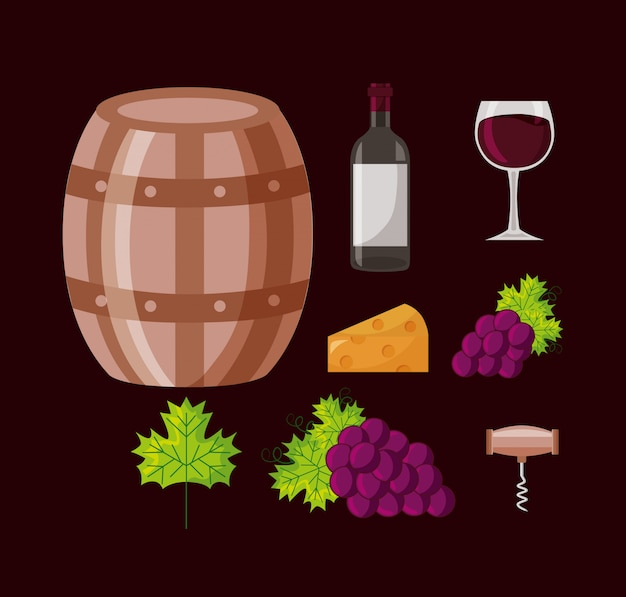 Wine bottle barrel grapes collection Free Vector