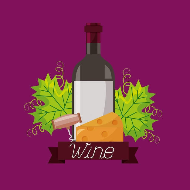 Wine bottle cheese corkscrew and leaves Free Vector