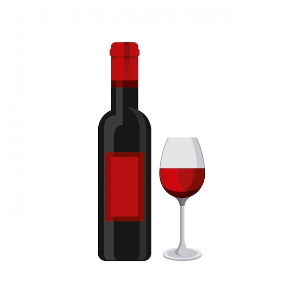 Wine bottle and cup Premium Vector