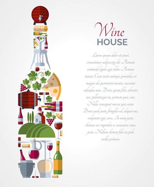 Wine bottle icons compositions poster Free Vector