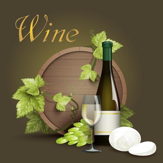 Wine bottle and oak barrel background Free Vector