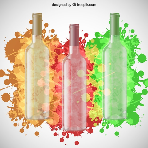 Wine bottles and colorful paint splashes