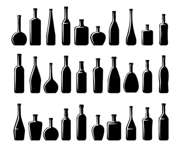 Wine bottles and beer bottles silhouettes set Free Vector