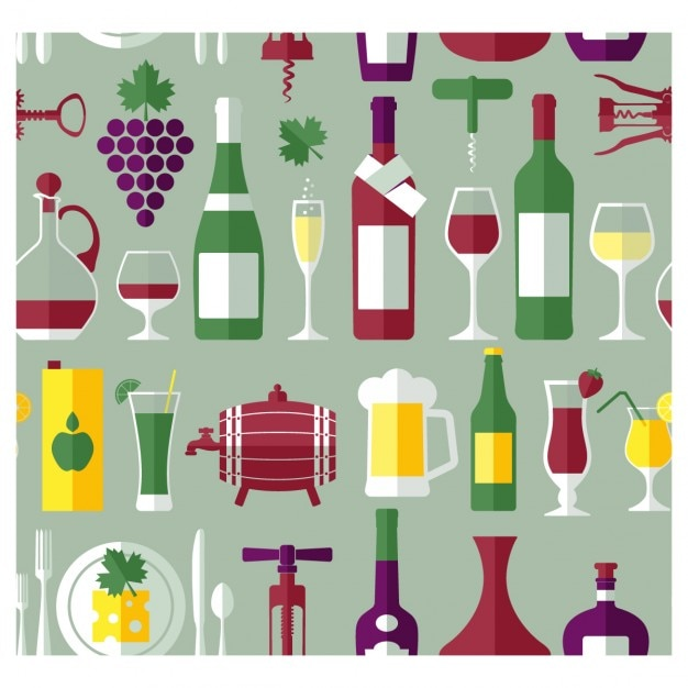 Wine bottles and drinks background in flat design Free Vector