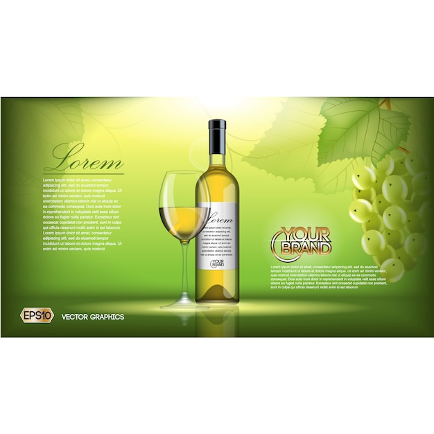 wine brochure template free vector