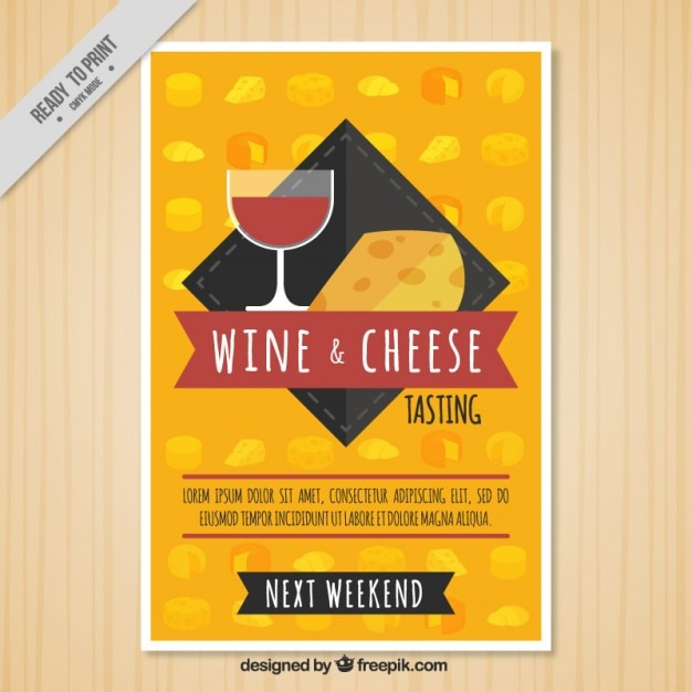 Wine and cheese brochure Free Vector