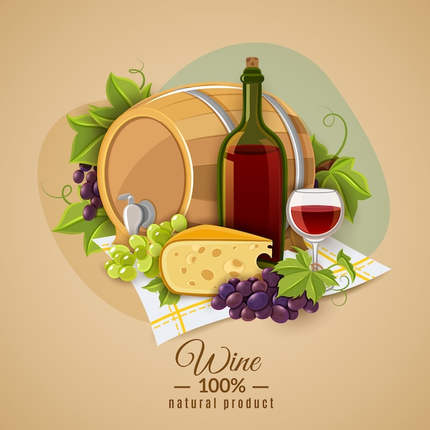 Wine and cheese poster Free Vector