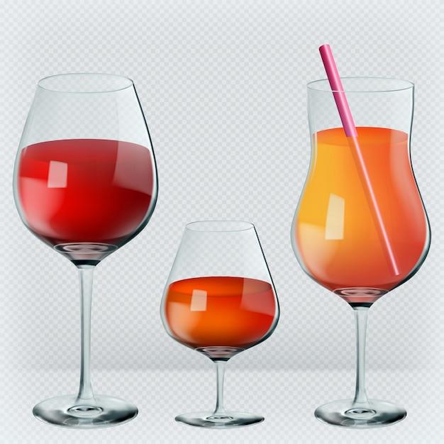 Wine, cognac, cocktail in transparent realistic glasses. Premium Vector