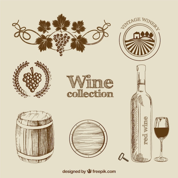 Wine collection in hand drawn style Free Vector