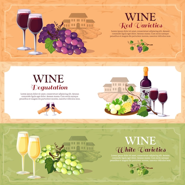 Wine degustation horizontal banners Free Vector