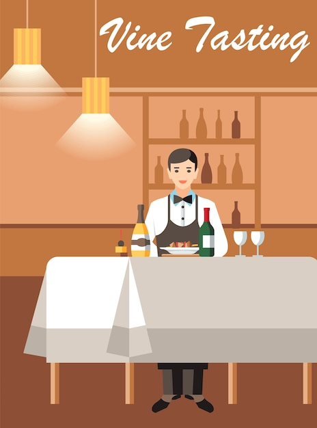 Wine degustation with expert flat vector banner Premium Vector