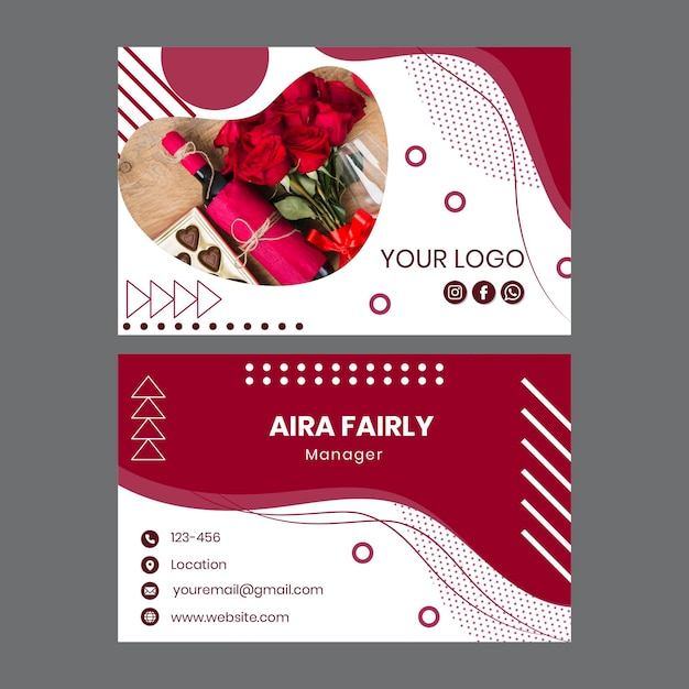 Wine double-sided business card Premium Vector