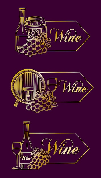 Wine drink alcohol card Premium Vector