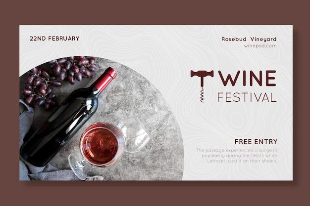Modello di banner orizzontale del festival del vino Vettore gratuito