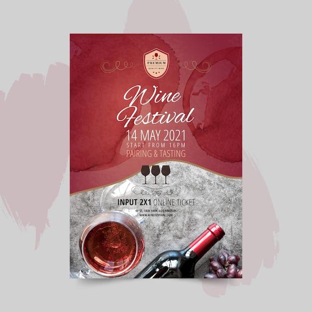 Modello di poster del festival del vino Vettore gratuito