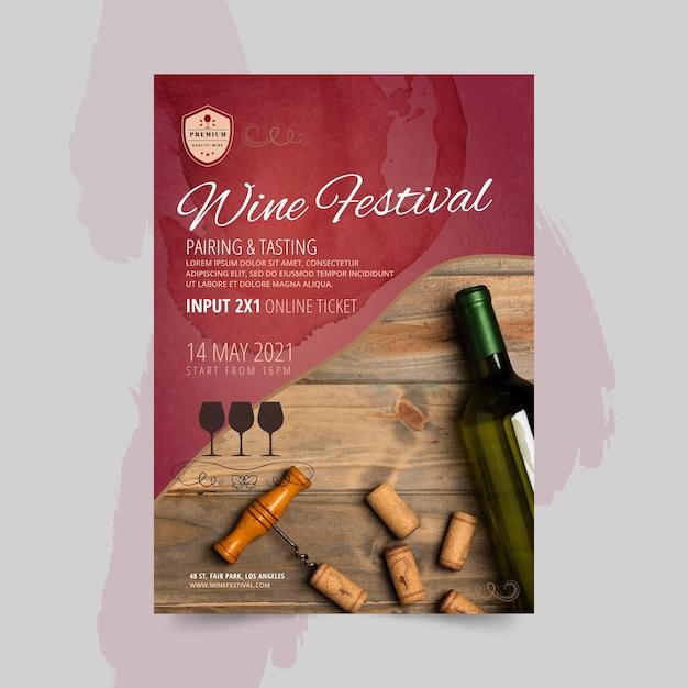 ワイン祭りの縦型チラシテンプレート 無料ベクター