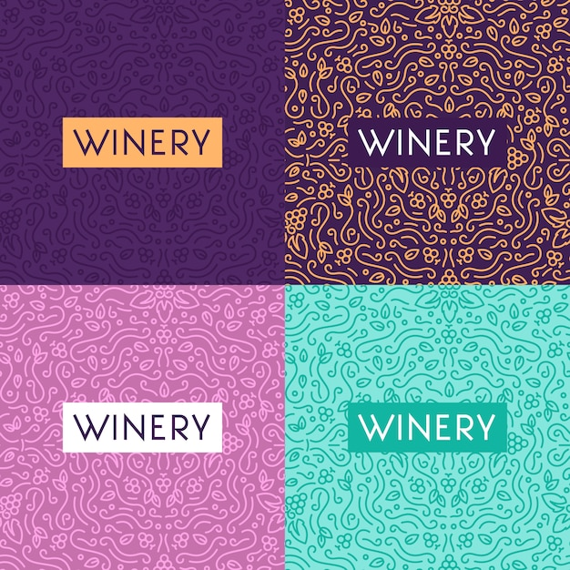 Wine glass and grapes vintage lettering background Free Vector