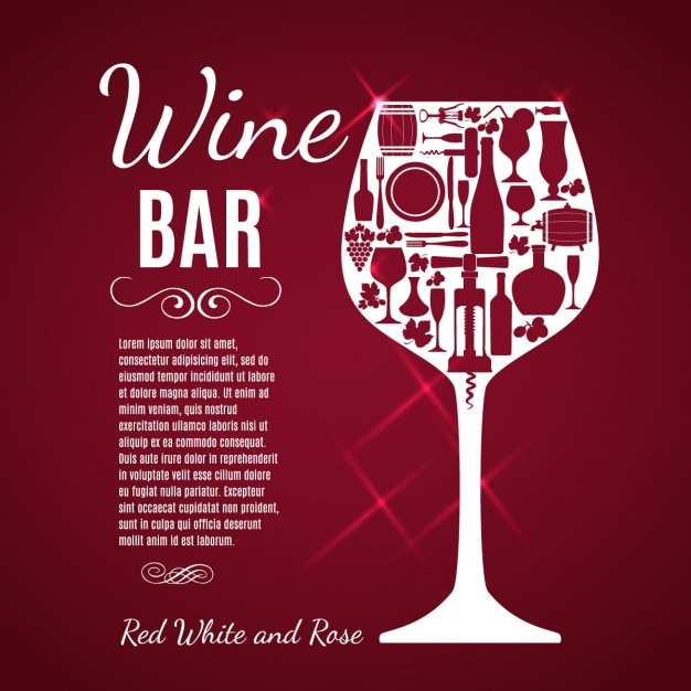 Wine glass red background Free Vector