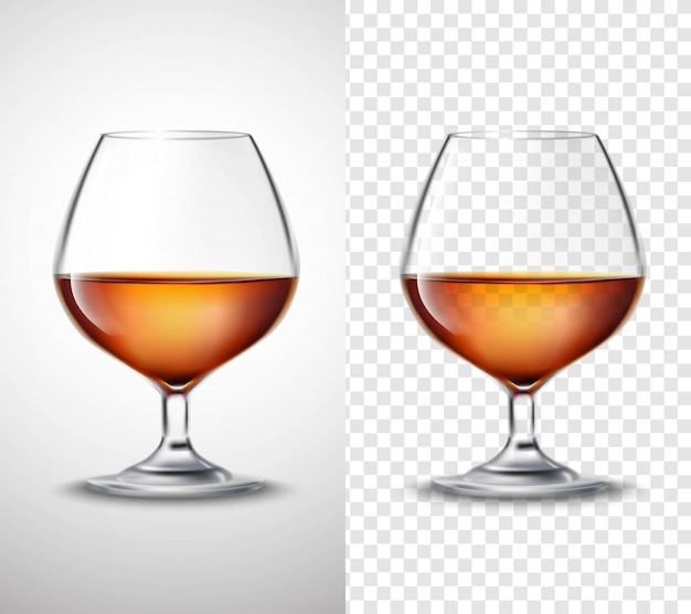 Wine glass with alcohol transparent banners Free Vector