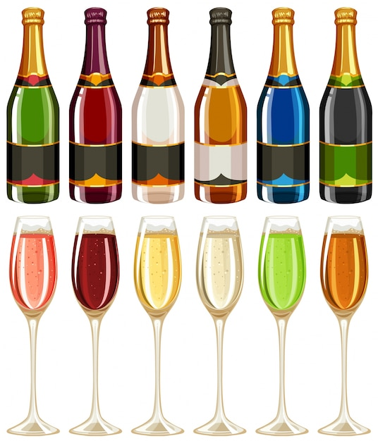 Wine glasses and bottle in many colors\ illustration