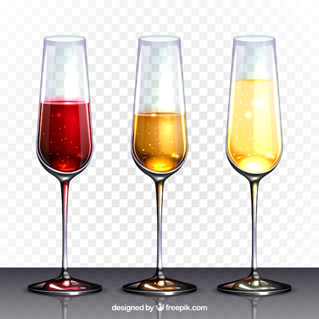 Wine glasses collection in realistic\ style