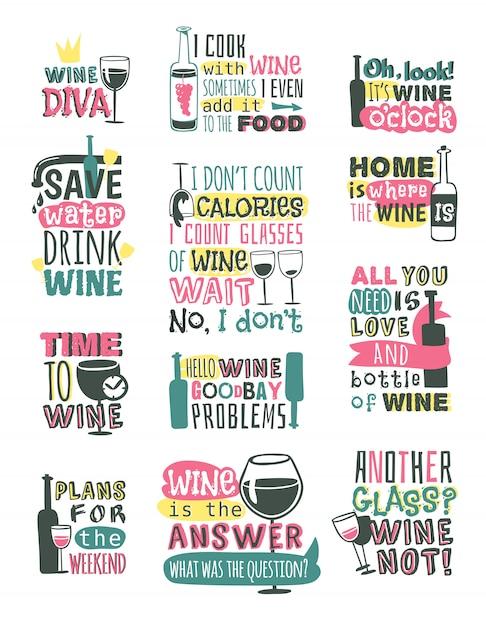 ワイン手描きロゴバッジ。 Premiumベクター