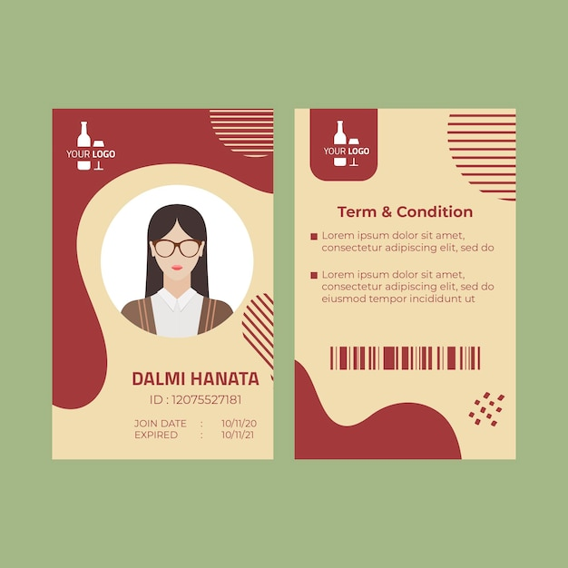 Wine id card template Free Vector
